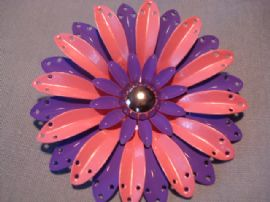 1960's Vintage Flower pin in Pastel Pink, Purple and Silver